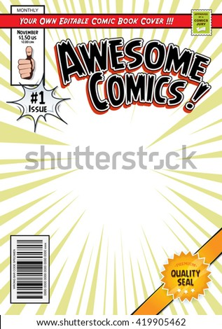 Comic Book Cover Template/ Illustration of a cartoon editable comic book cover template, with super hero magazine style, titles and subtitles to customize, and wrong bar code and label