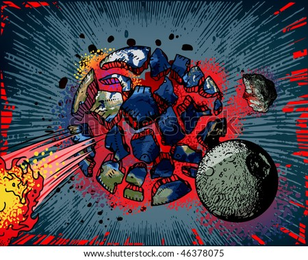 Comic book - Earth explosion - stock vector