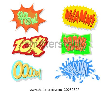 Comic Book Exclamation Sounds - Vector Illustrations - stock vector