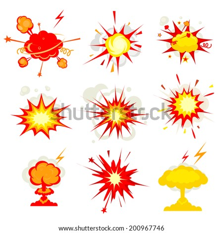 Comic Book Explosion, blast or bomb bang fire vector eps10 illustration - stock vector