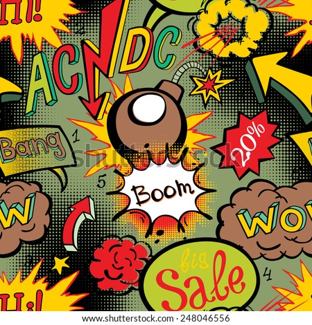 Comic book explosion pattern vector illustration seamless art acdc