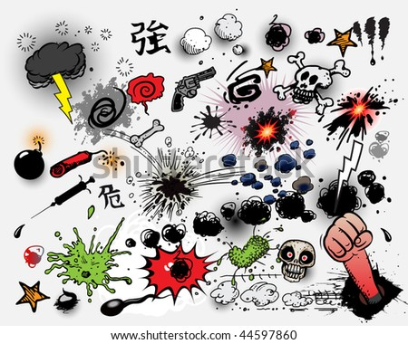 Comic book explosions - dirty - stock vector