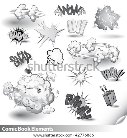 Comic Book Explosions - Vector Cartoon Elements - Monochrome Black and White Theme - stock vector