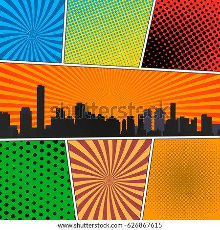 Comic Book Page Template Radial Backgrounds Stock Vector 626867615