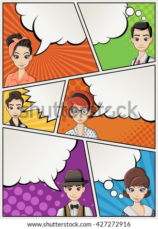 Comic book page with retro woman talking. Comic strip background with speech bubbles. Vintage art.  - stock vector