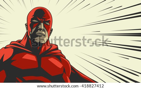 Comic book red stylized superhero Cry face on radial lines square background Print vector illustration - stock vector