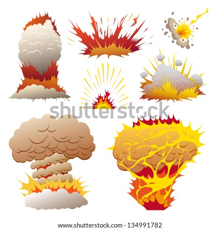 Comic book set of explosions, vector illustration - stock vector