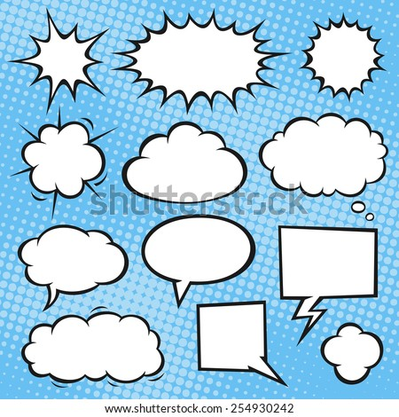 Comic book speech bubbles on a halftone background. Vector format. - stock vector