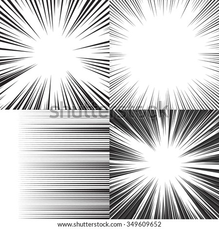 Comic book speed horizontal lines background set of four editable images - stock vector