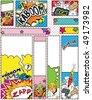 Comic Book Style Banners in Sizes; 88 x 31, 468 x 60, 234 x 60, 120 x 240, 120 x 600, 160 x 600, 300 x 600, 252 x 144 and 300 x 250 - stock vector