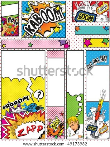Comic Book Style Banners in Sizes; 88 x 31, 468 x 60, 234 x 60, 120 x 240, 120 x 600, 160 x 600, 300 x 600, 252 x 144 and 300 x 250