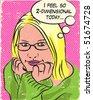 comic book style blonde girl - stock vector