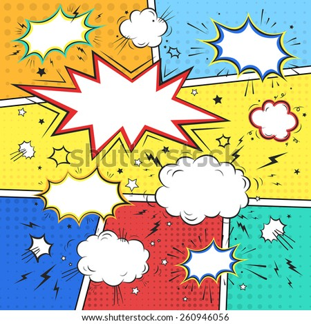 comic book style speech bubbles set over colorful background - stock vector