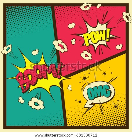Comic Book Style Vintage Color Background Stock Vector 681330712 ...