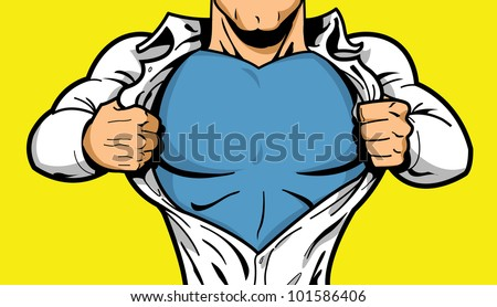 Comic book superhero opening shirt to reveal costume underneath. - stock vector
