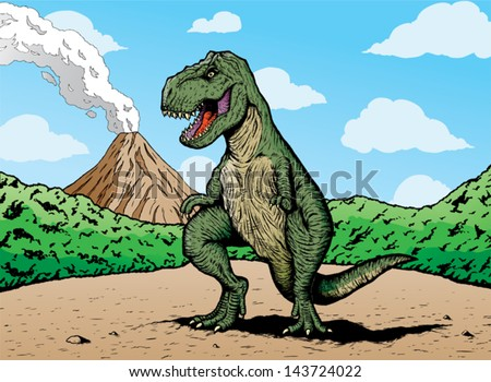 Comic book T-rex. T-rex is on a separate layer from background and can be easily removed.  - stock vector