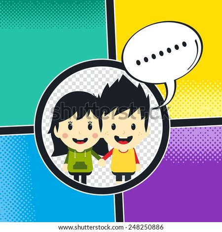 comic book template - cartoon character - stock vector