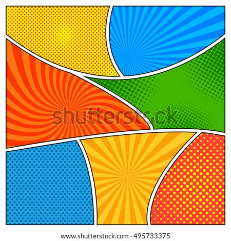 Comic Book Template Different Colors Radial Stock Vector 495733375 ...