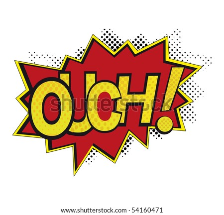 comic book with ouch - stock vector