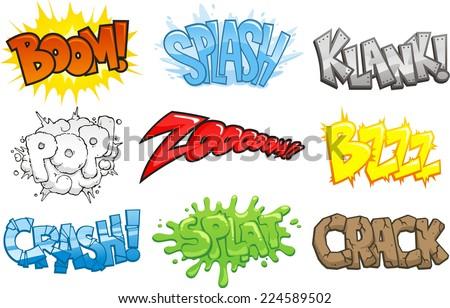 Comic Books Cartoon Sound Effects Onomatopoeia, vector illustration cartoon.  - stock vector