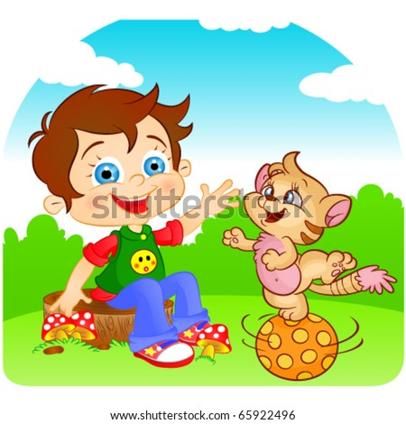 comic boy and playful fun cat cartoon