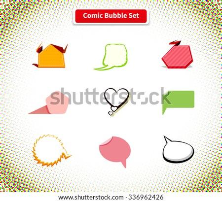 Comic bubble set icon flat style design. Comic background, comic book, speech bubble, comic explosion, message chat, talk cloud communication, web balloon speak dialog illustration - stock vector