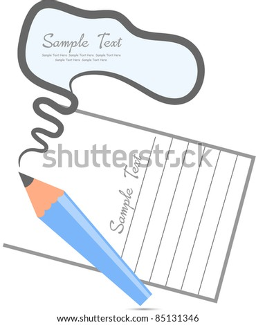 comic bubble shown with pencil against white paper background - stock vector