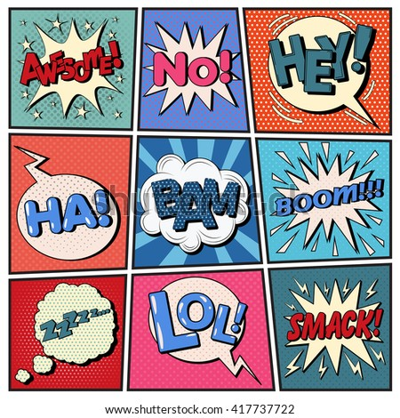 Comic Bubbles Set with Expressions. Halftone Background. Pop Art. Vector illustration - stock vector