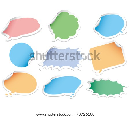 comic bubbles sticker - stock vector
