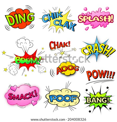Comic bubbles vector isolated set, sound effects to comics - stock vector