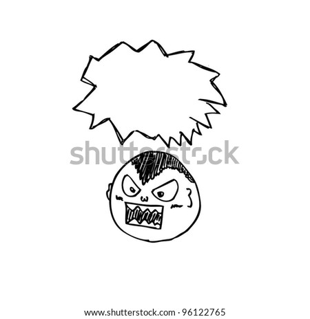 comic cartoon doodle with speech bubble - stock vector