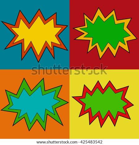 Comic cartoon speech bubble color vector set. - stock vector