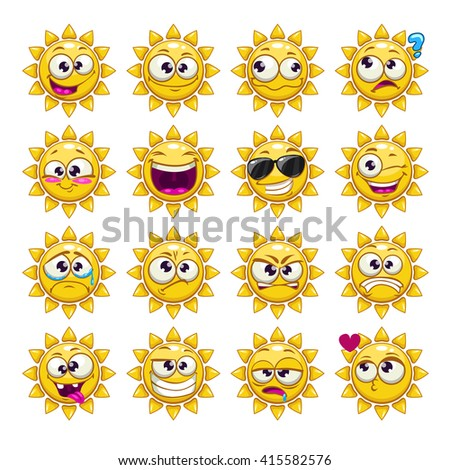 Comic cartoon sun character emotions set, summer weather icons, sun sticker face - stock vector