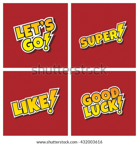 comic cartoon text set theme vector art illustration - stock vector