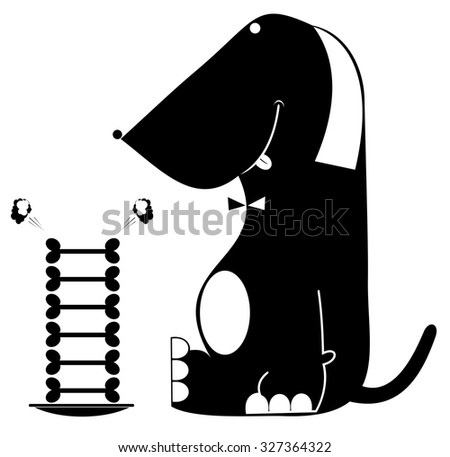 Comic dog looks at the plate full of bones with appetite    - stock vector