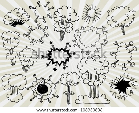Comic Elements of Explosions Hand Drawn - stock vector