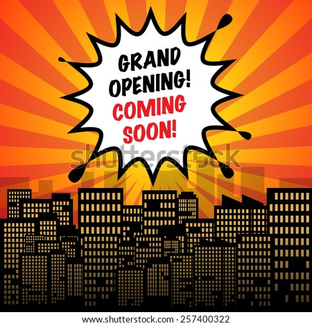 Comic explosion with text Grand Opening Coming Soon, vector illustration - stock vector