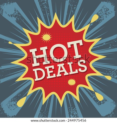 Comic explosion with text Hot Deals, vector illustration - stock vector