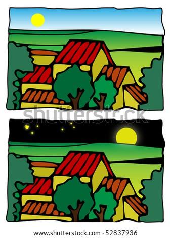 Comic farm scene vector illustration - day and night - stock vector