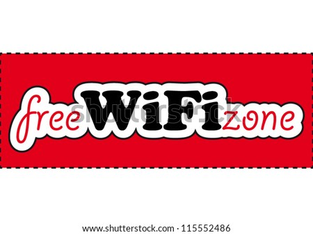 Comic free WIFI zone sign on red background - stock vector