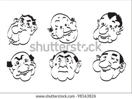 Comic heads cartoon vector on a white background