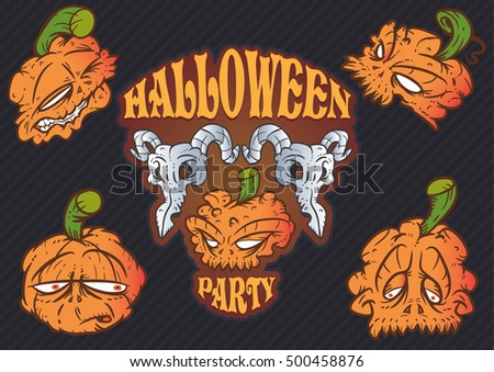 Comic illustrations of Halloween themed pumpkin head face characters
