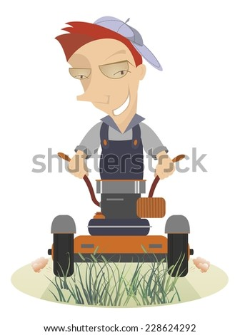 Comic lawnmower mows the lawn - stock vector