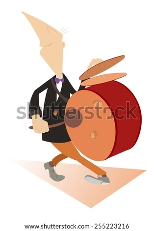 Comic man beats the drum and kettledrums - stock vector