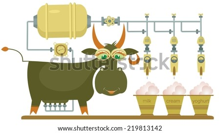 Comic milk farm and cow illustration - stock vector
