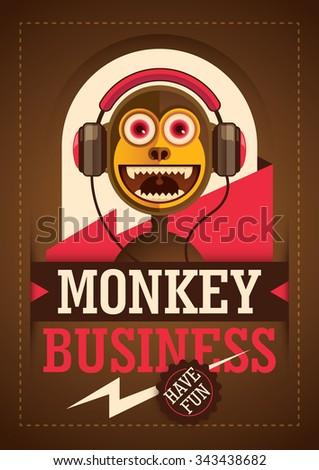 Comic monkey with headphones. Vector illustration. - stock vector