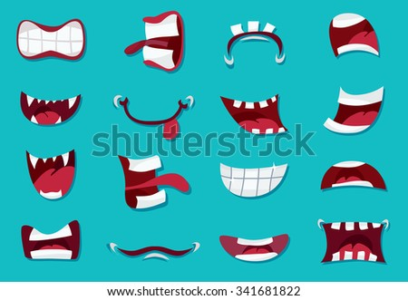 Comic Mouth Set/ Illustration of a set of funny cartoon human or animals characters mouth with various expressions and emotions, from fear to joy, happiness, sadness, surprise, boring and angry  - stock vector