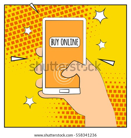 Comic phone with halftone shadows. Hand holding smartphone with buy online internet shopping. Pop art retro style. Flat design. Vector illustration eps 10