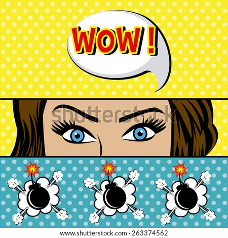Comic pop art colorful design, vector illustration. - stock vector