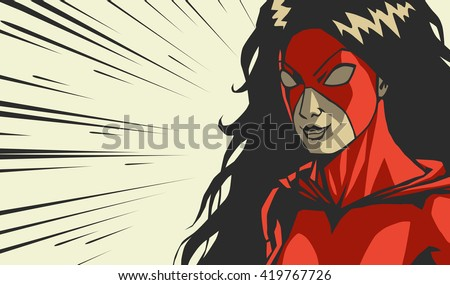 Comic red stylized woman superhero Fight frame Cry face on radial lines square background Print vector illustration - stock vector
